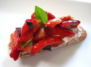 Rhubarb-goat cheese strawberry bruschetta